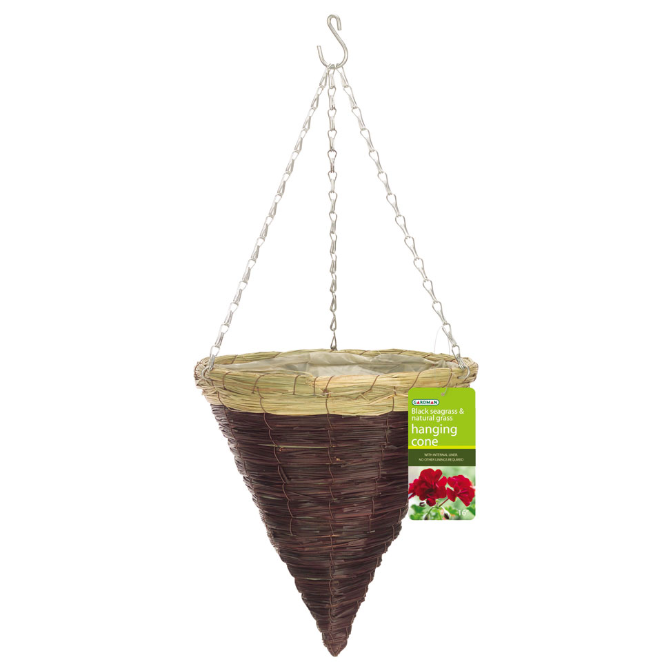 Black Seagrass Hanging Cone Basket