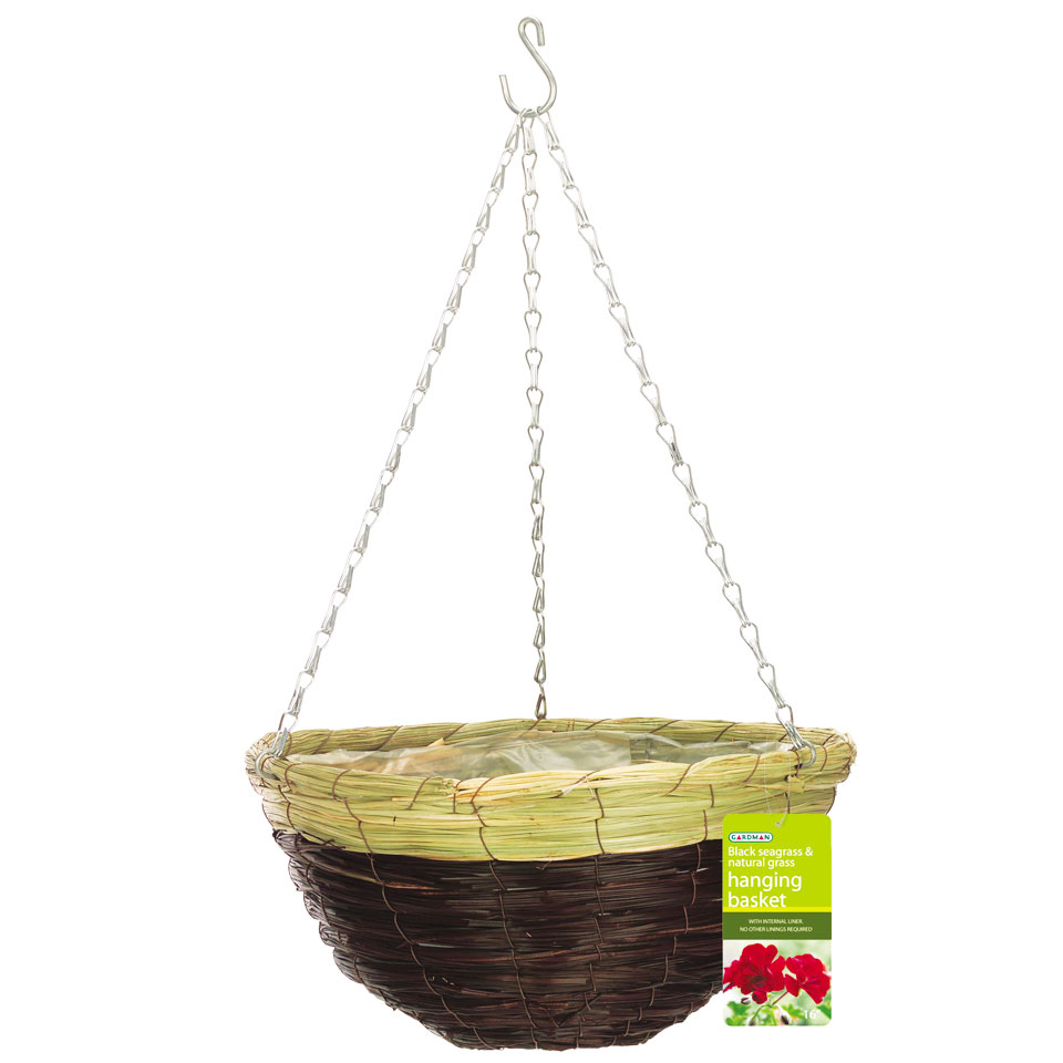 35cm Black Seagrass Hanging Basket