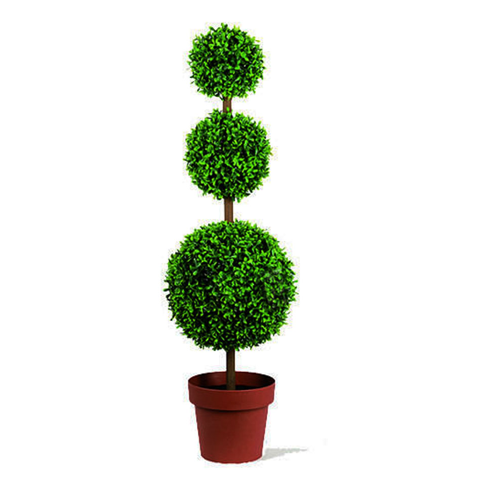 100cm Leaf Effect Triple Topiary Ball Potted Tree
