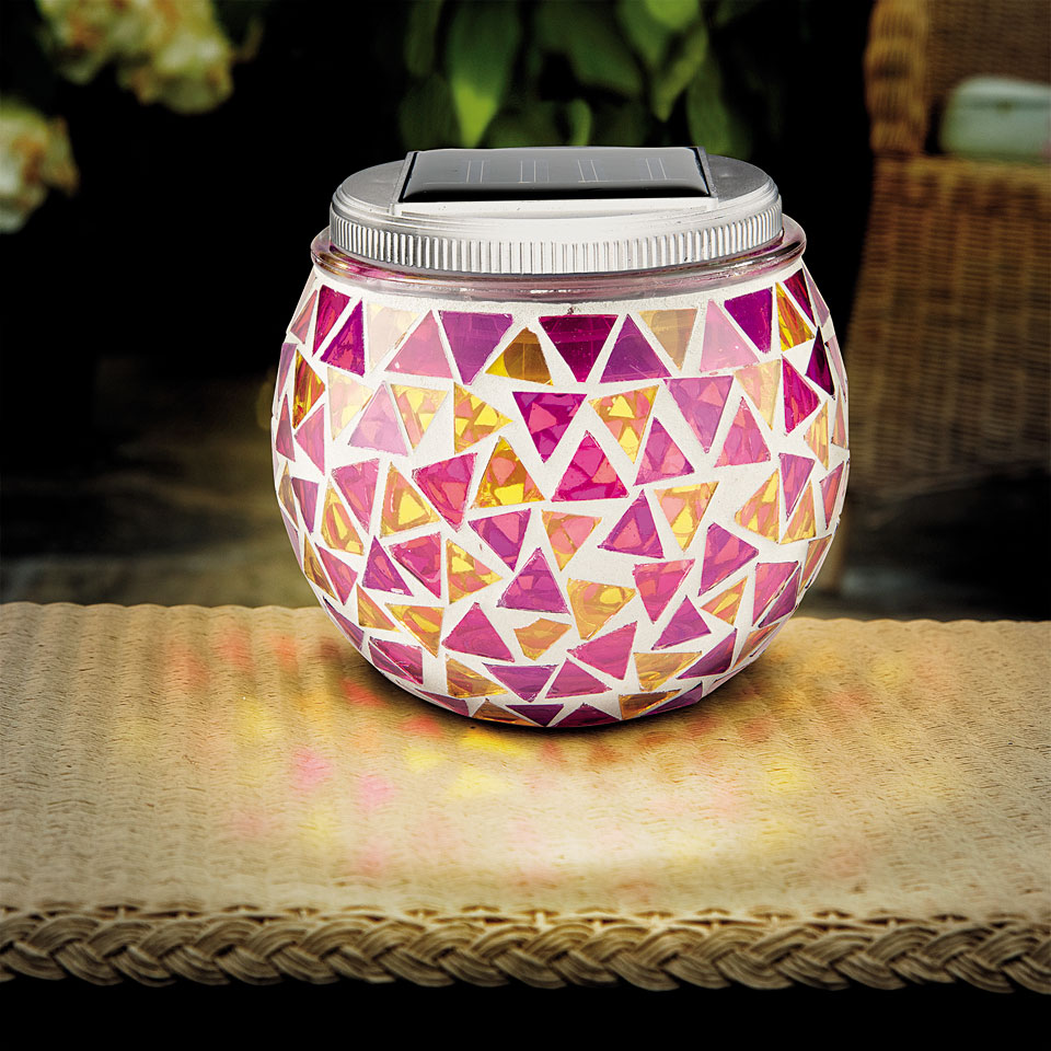 Solar Powered Mosaic Round Jar Table Lantern