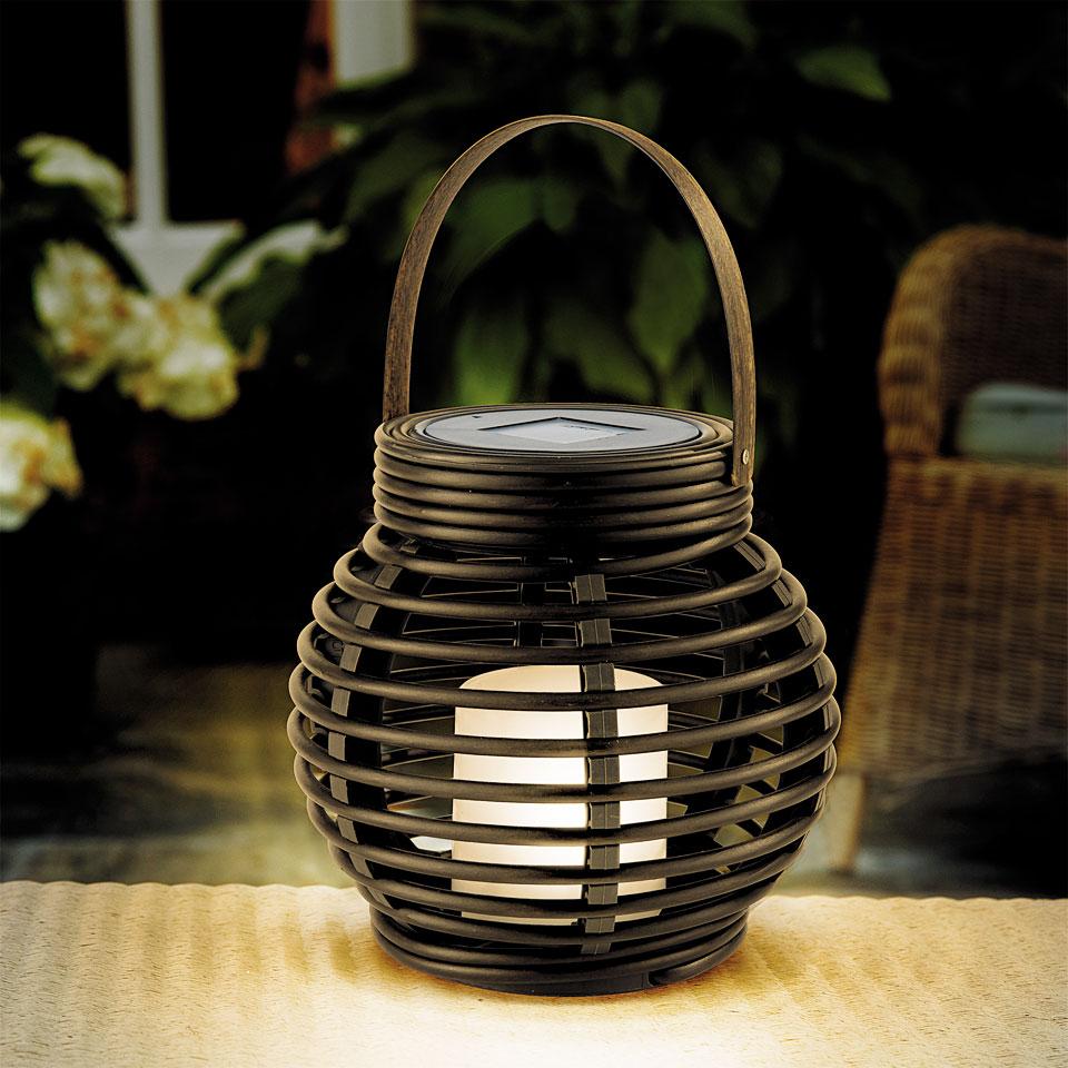 Solar Mini Round Resin Rattan Lantern