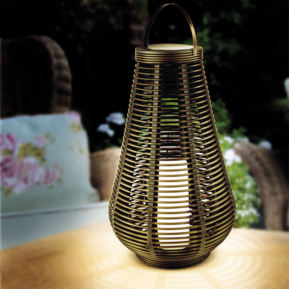 Solar Round Rattan Column Lantern