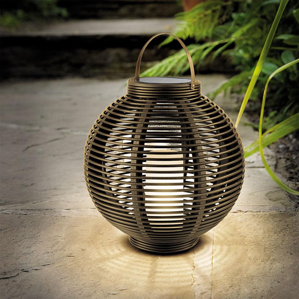 Solar Round Rattan Lantern
