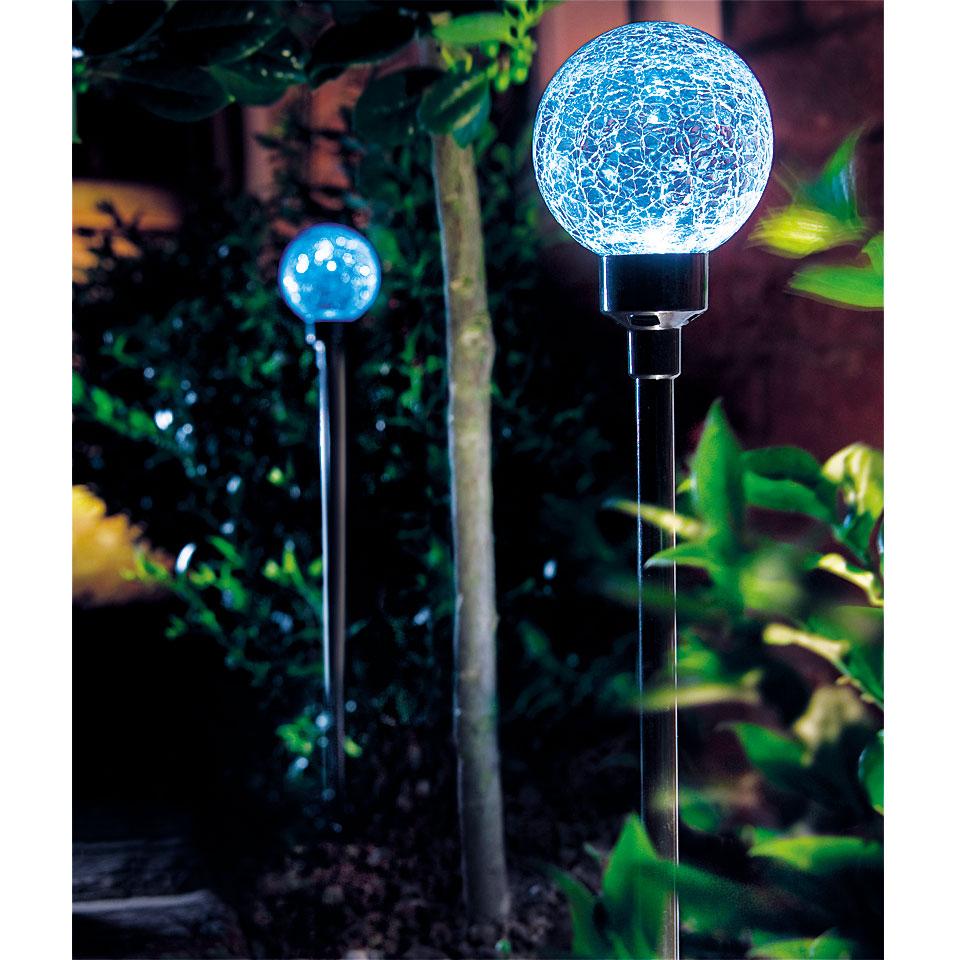 Set of 2 Blue Solar Border Ball Lights