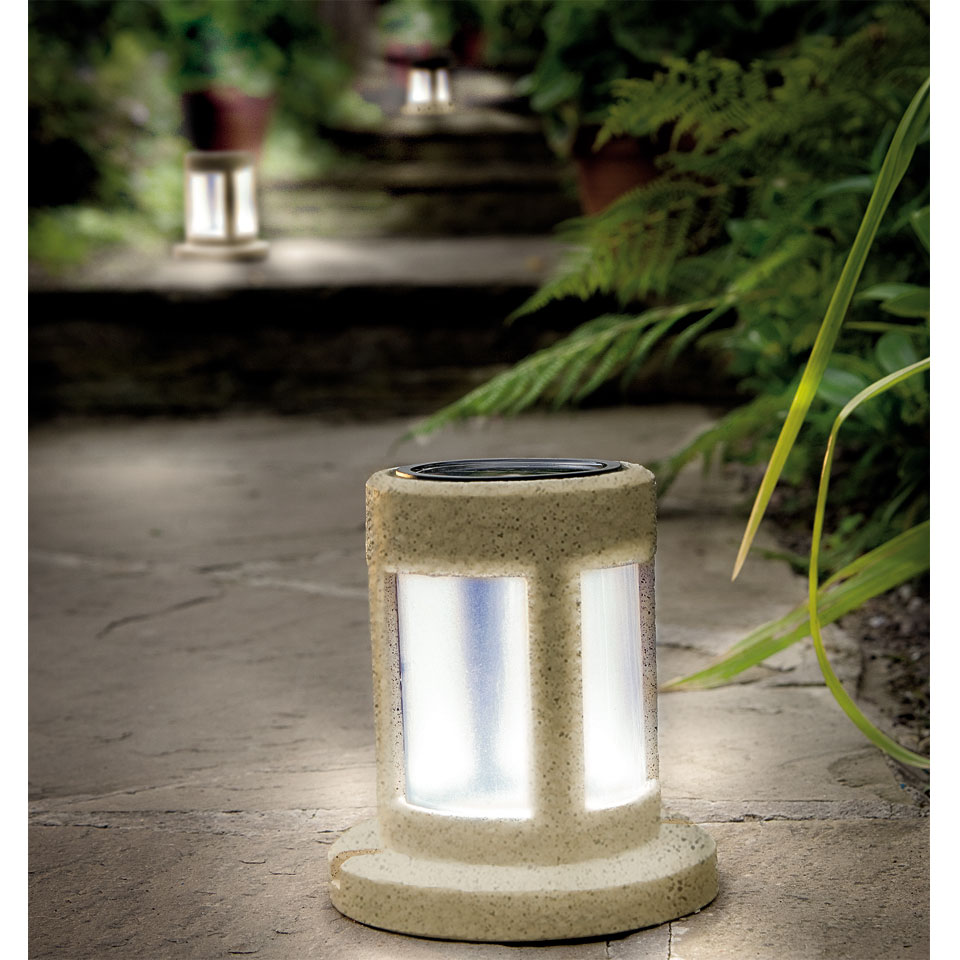 Solar Powered Sandstone Round Lantern Light