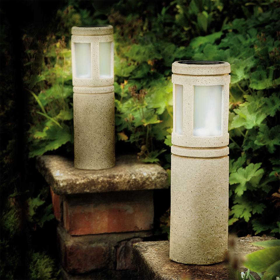 Set of 2 Solar Powered Sandstone Round Lantern Post Lights