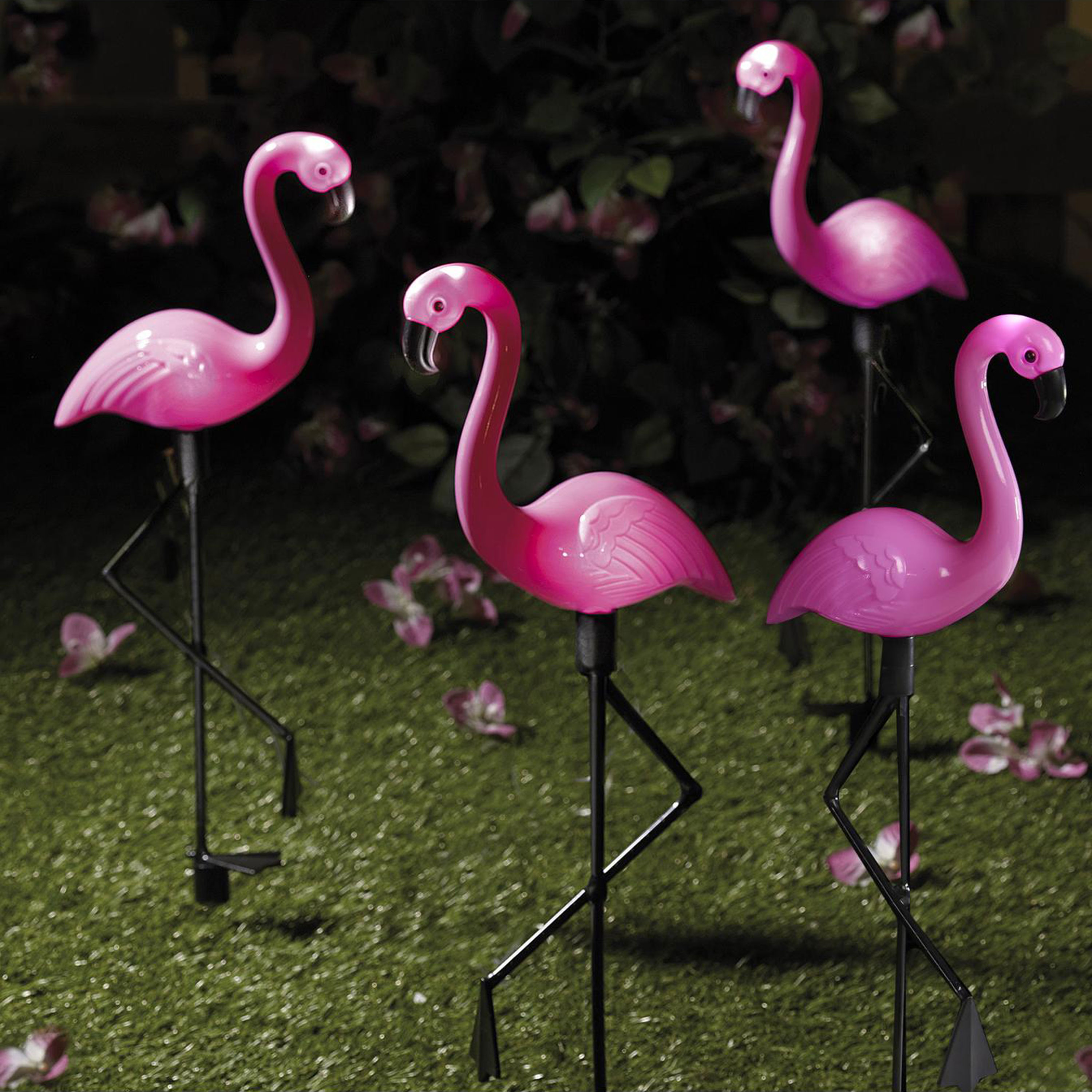Solar-Powered Lawn Flamingoes (Pack of 4)