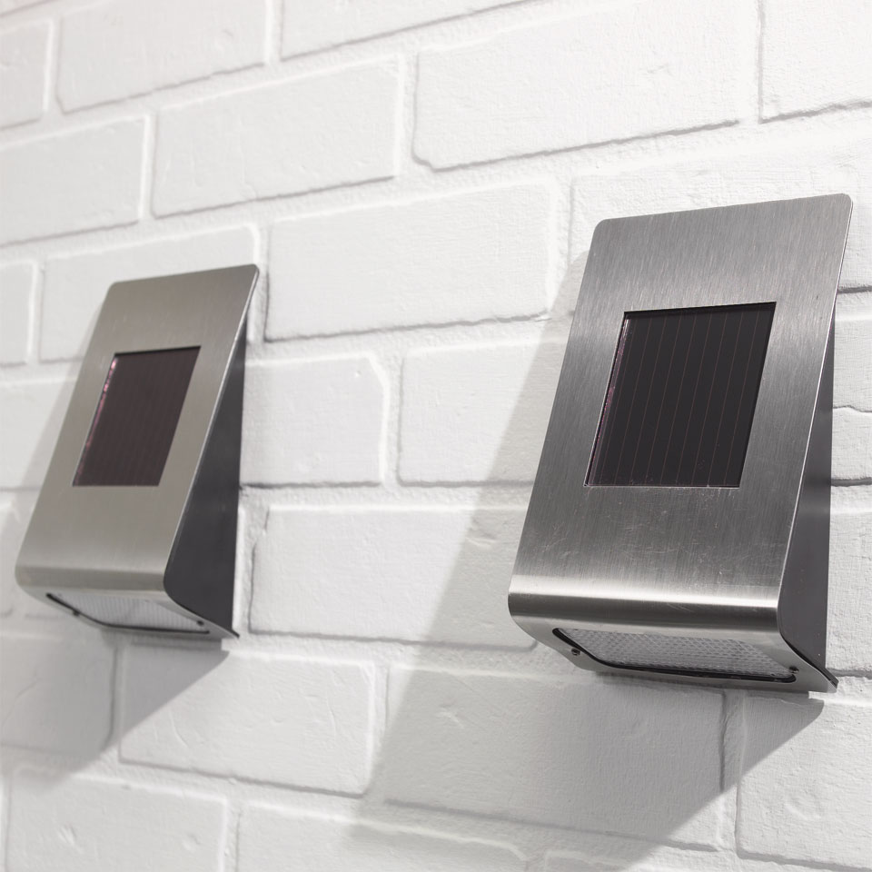 Pack of 2 Stainless Steel Solar Wall Lights