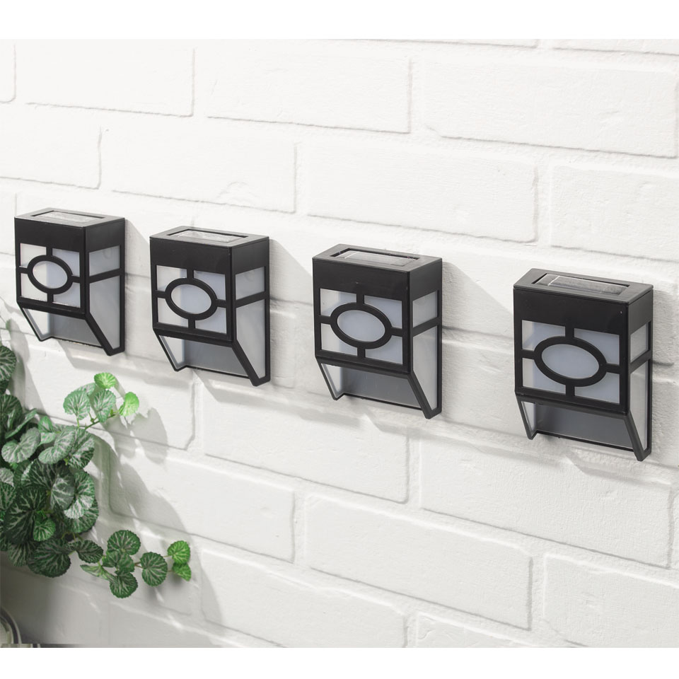 Pack of 4 Tiffany Solar Wall and Fence Lanterns