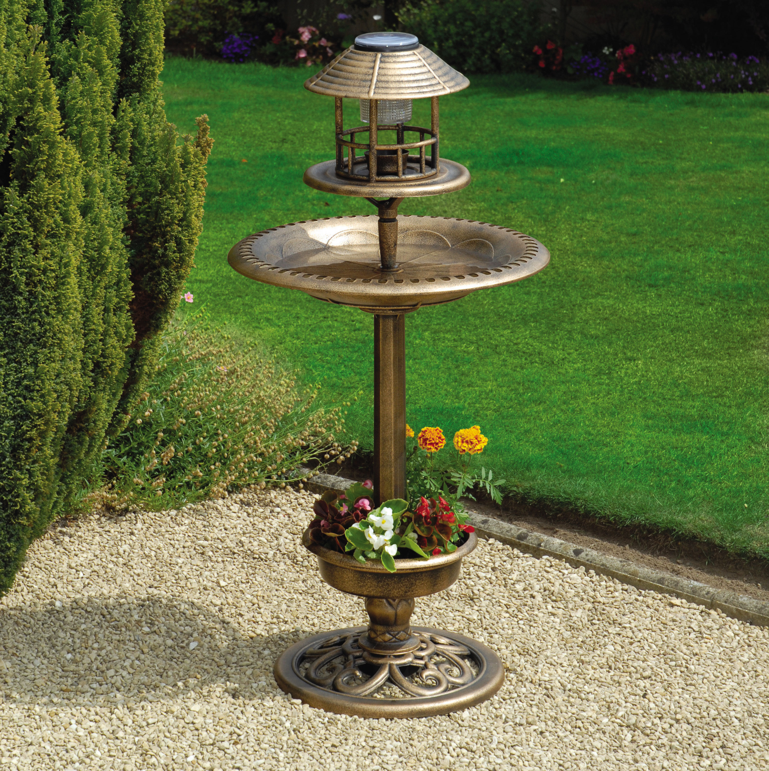 Antique Bronze Solar Bird Bath & Feeder