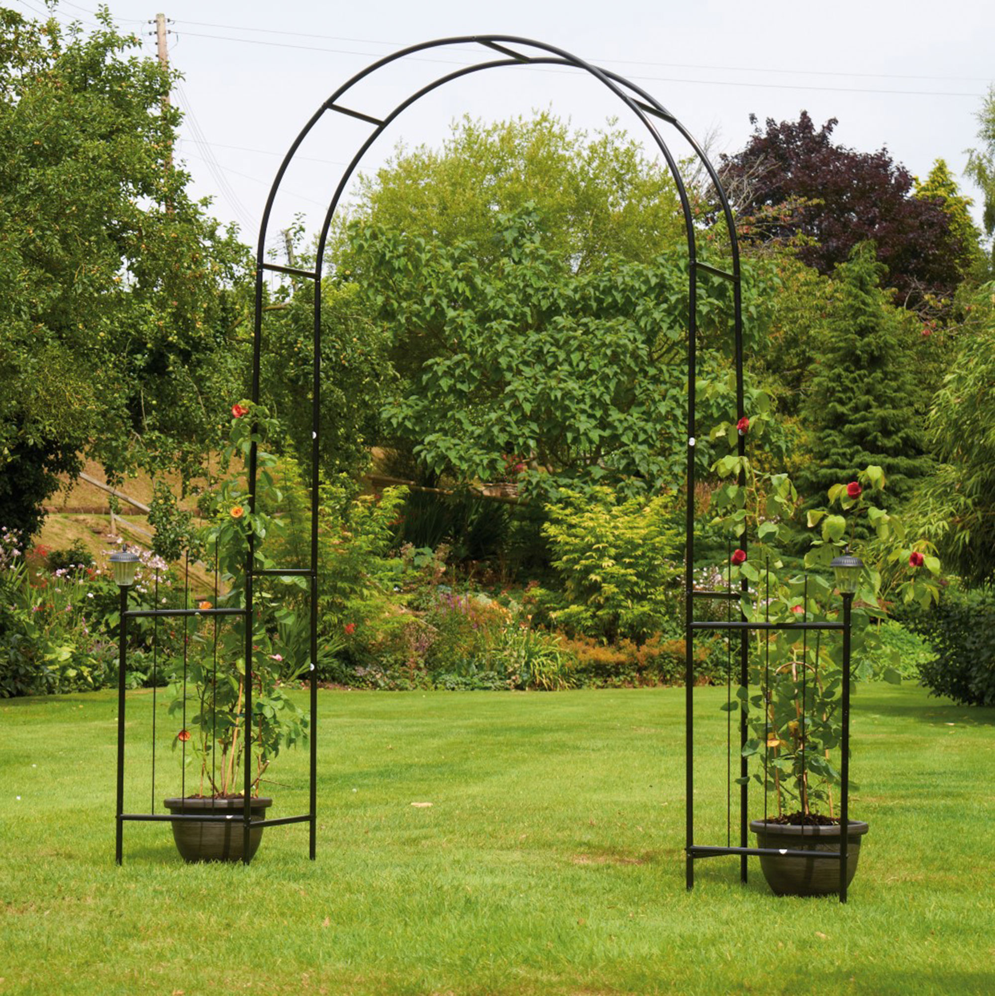Garden Archway with Solar Torches