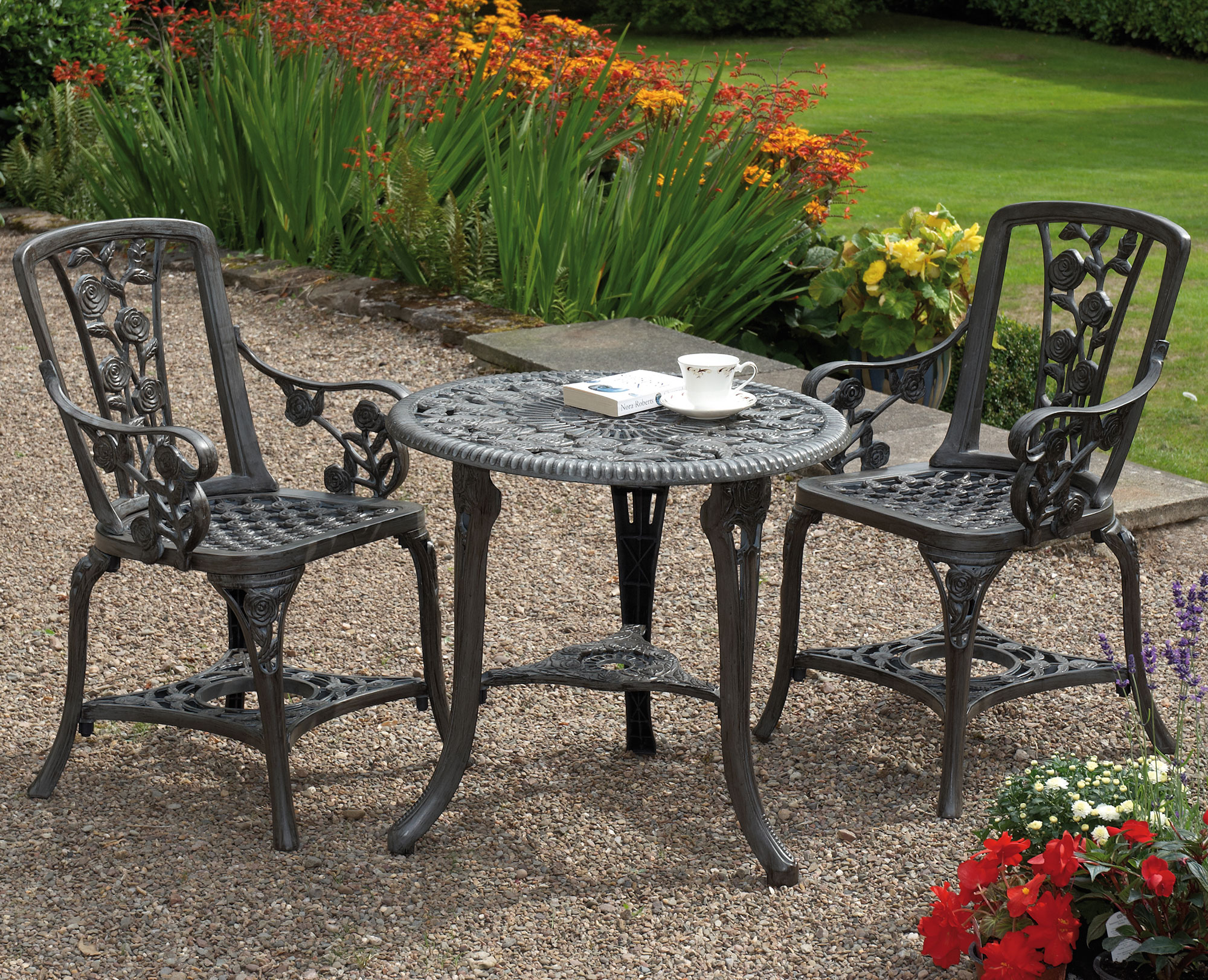 Gunmetal Grey Carnation 3-Piece Armchair Patio Set