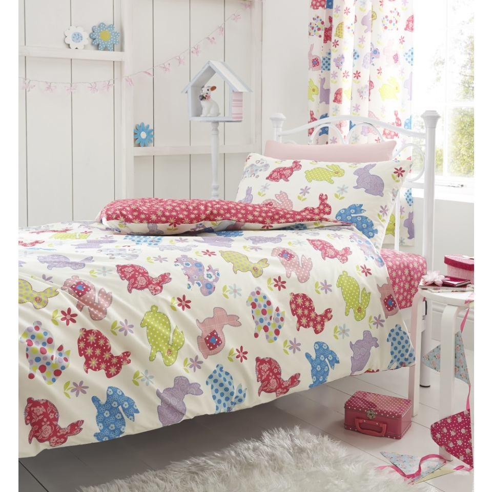 Catherine Lansfield Home Kids Cotton Rich Bunnies Multi Coloured Single Cotton rich Fitted Sheet