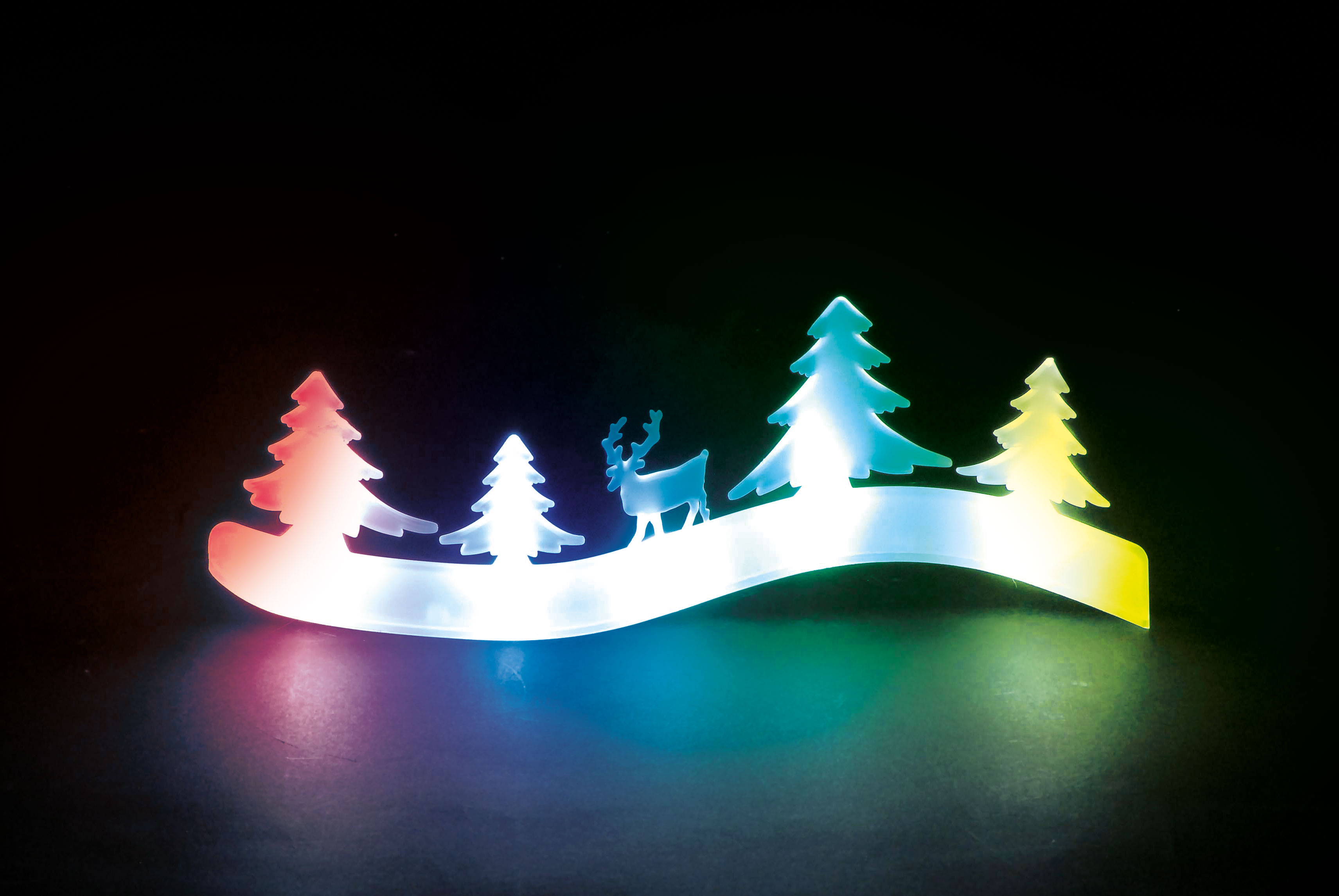 Battery Operated Colour Changing Trees & Reindeer Tableau