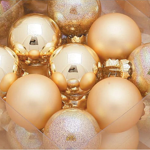 Pack of 18 x 40mm Gold Glass Baubles in Shiny & Matt Finish