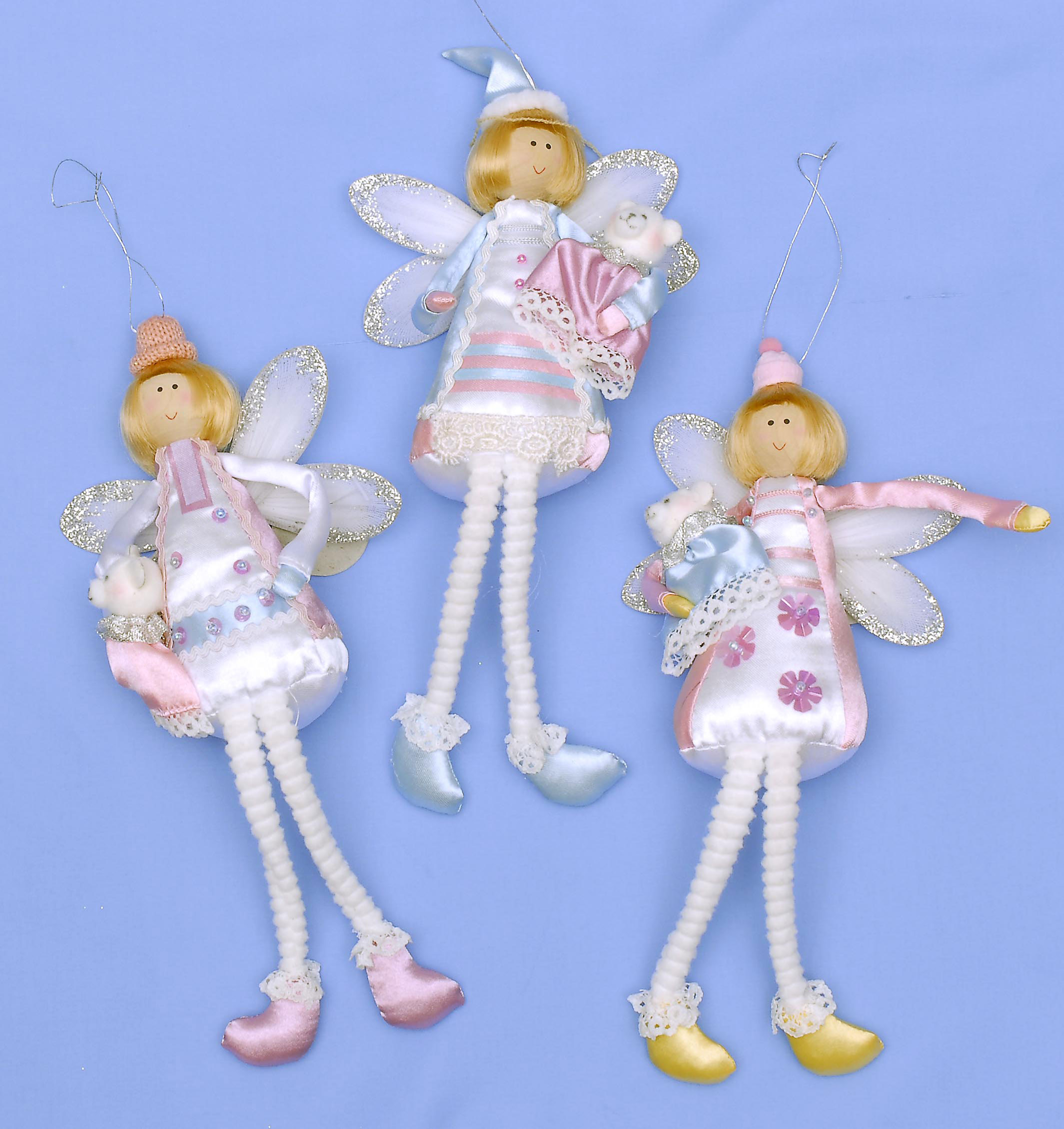 Pack of 3 x 23cm Satin Angel Holding Teddy 3 Styles.