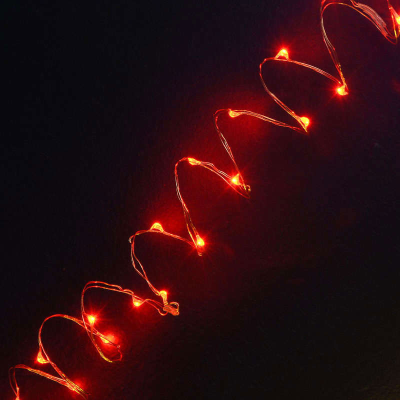 Battery Operated 2M 20L Red LED Naked Copper Wire Light