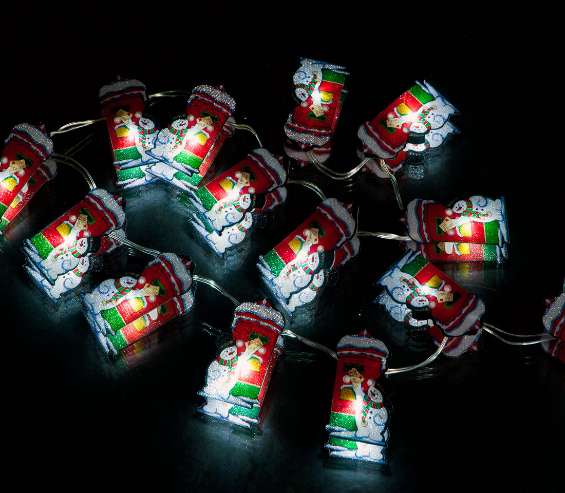 Battery Operated Set of 20 Small Post Box Lights: 20 Ice White LEDs