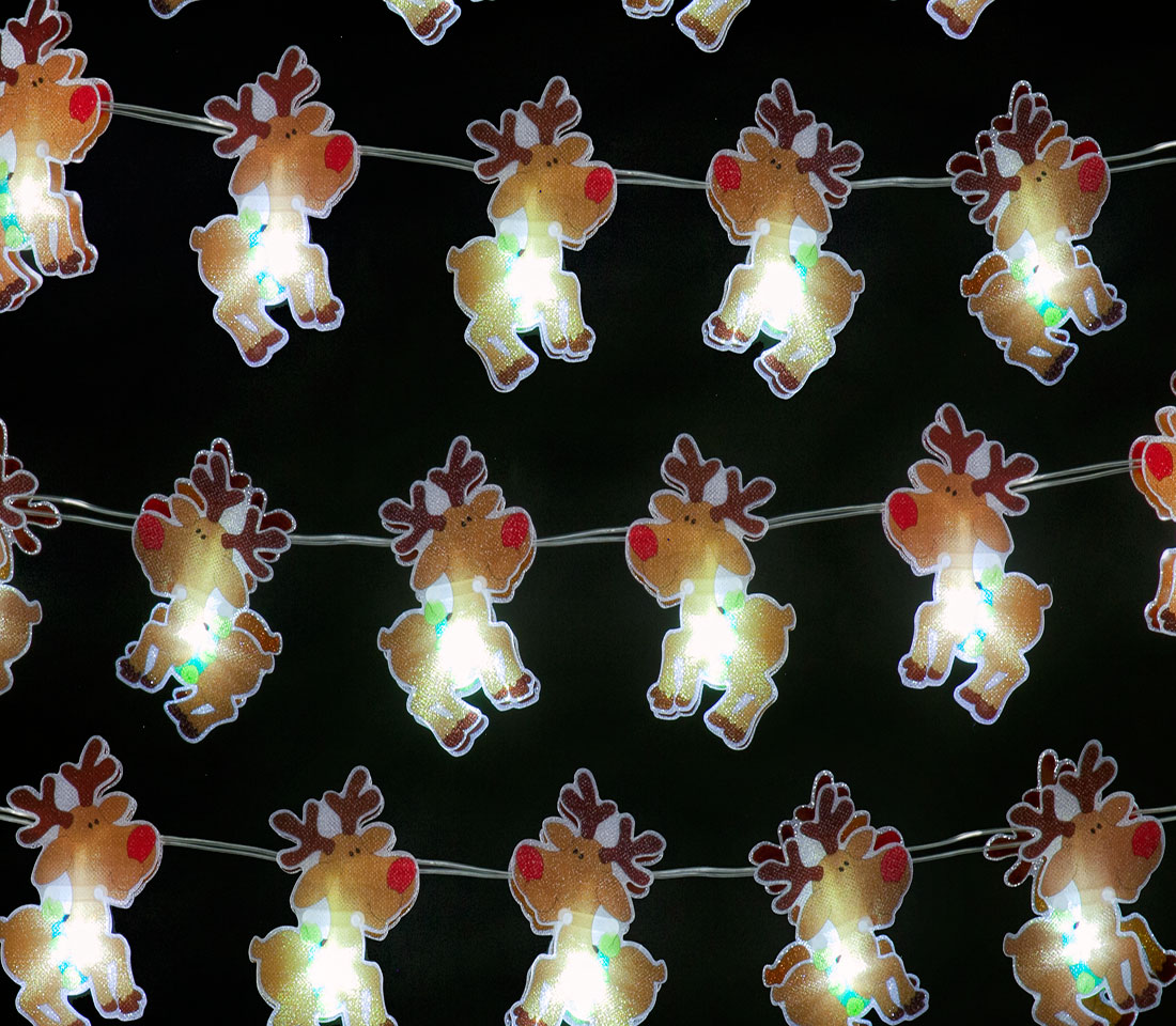 Battery Operated Set of 20 Small Reindeer Lights: 20 Ice White LEDs