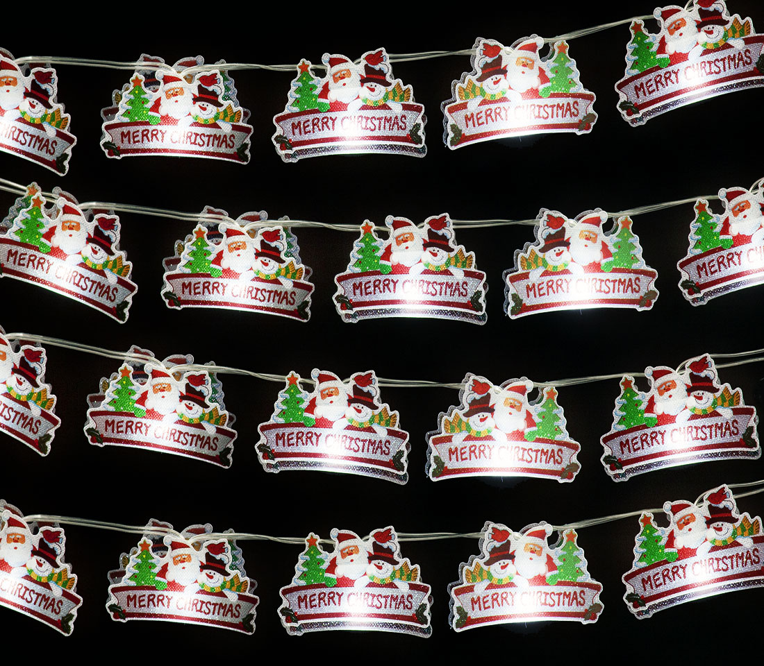 Battery Operated Set of 20 Small PVC Xmas Sign with 20 Ice White LEDs