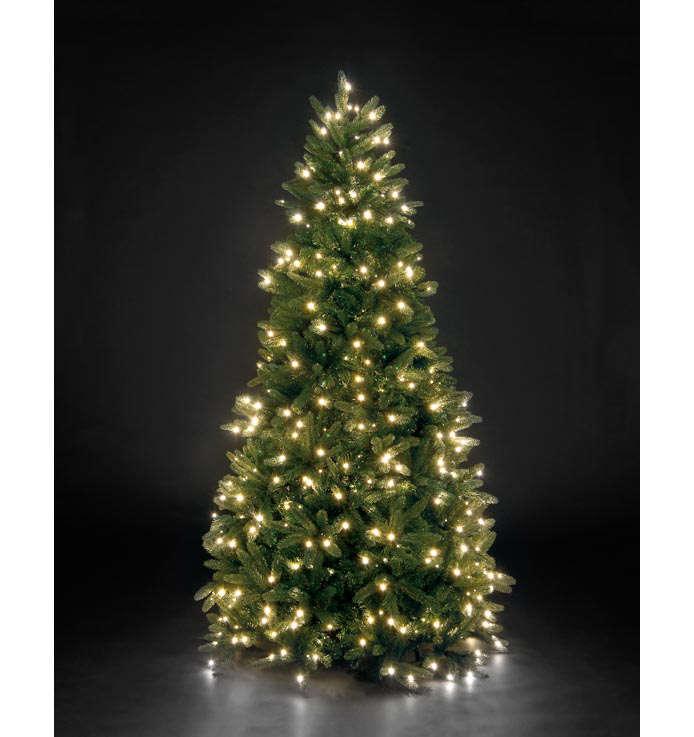 8ft Green Louise Fir Luxury Pre-Lit Premium PE Christmas Tree