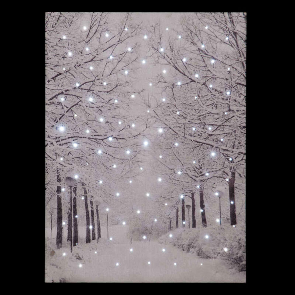 Tree-Lined Avenue in Winter Illuminated Canvas