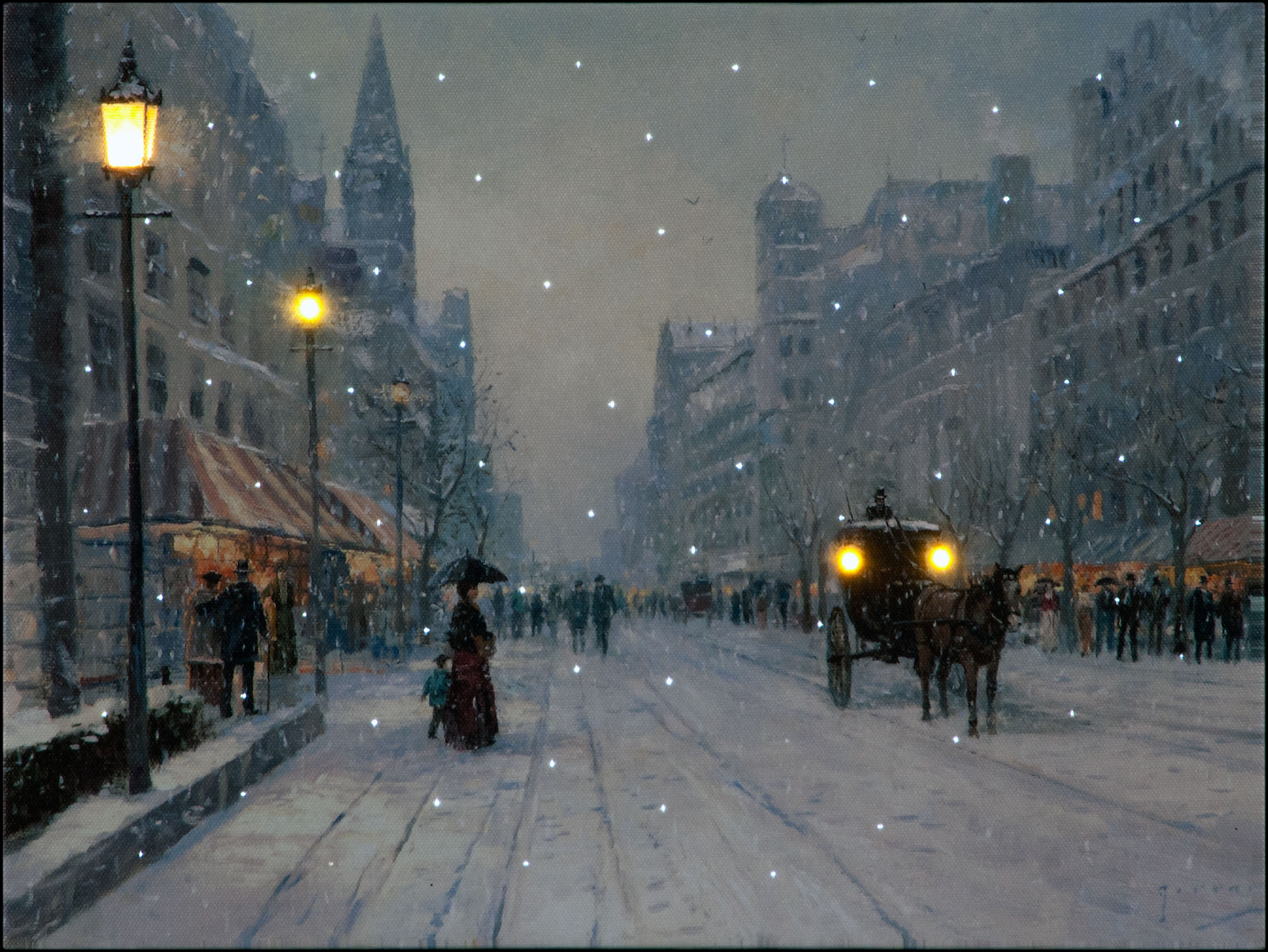 Christmas Eve in the City Illuminated Wall Canvas 40x30cm