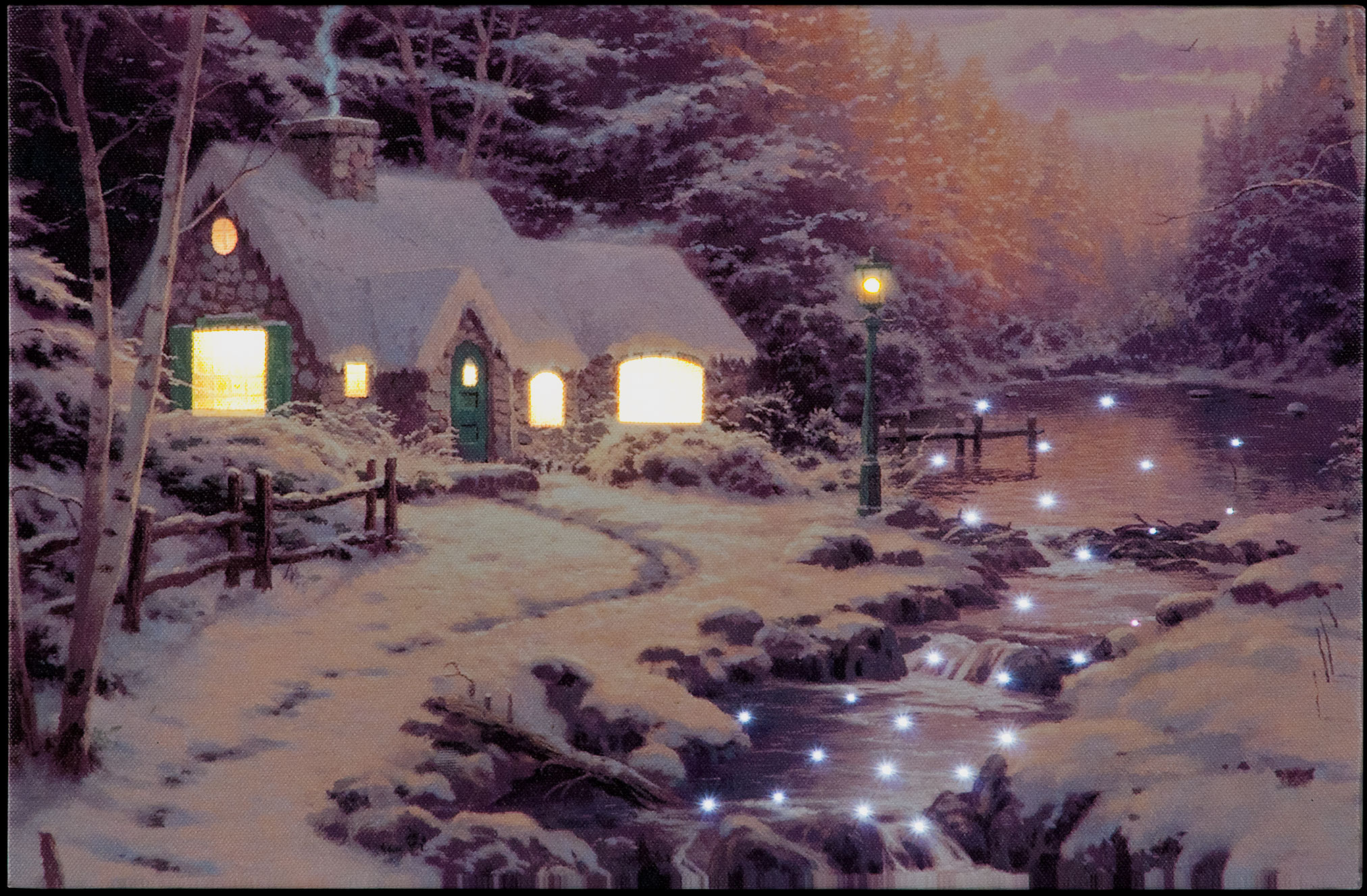 Winter Woodland Cottage Illuminated Wall Canvas 40x30cm