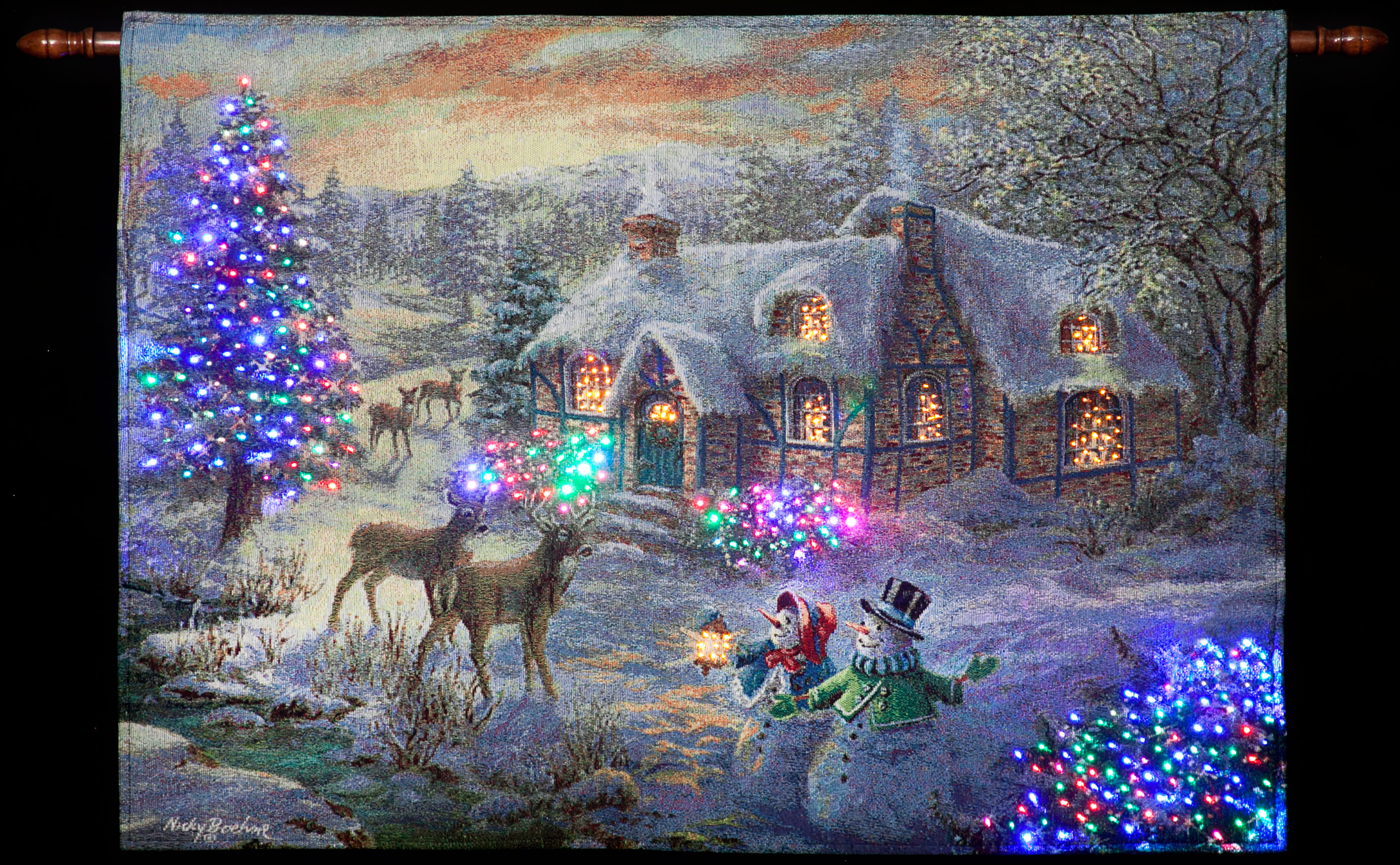 Nicky Boehme Quot Christmas Cottage Quot Illuminated Hanging