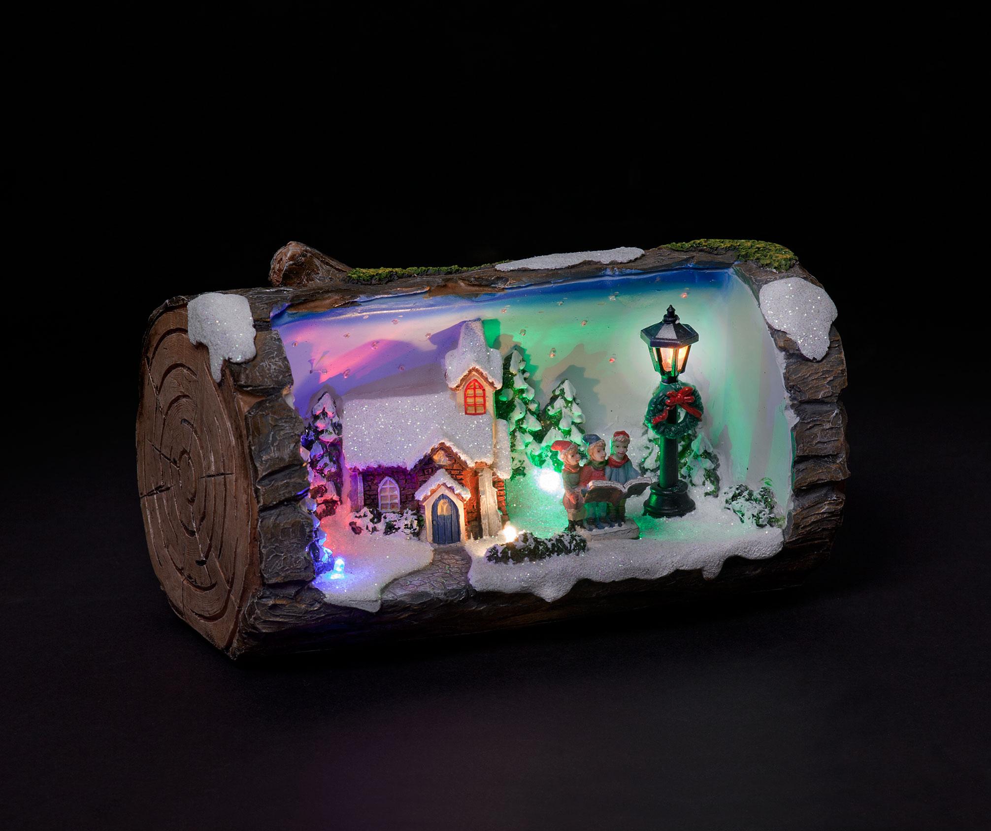 Carol Singers Illuminated & Animated Christmas Log
