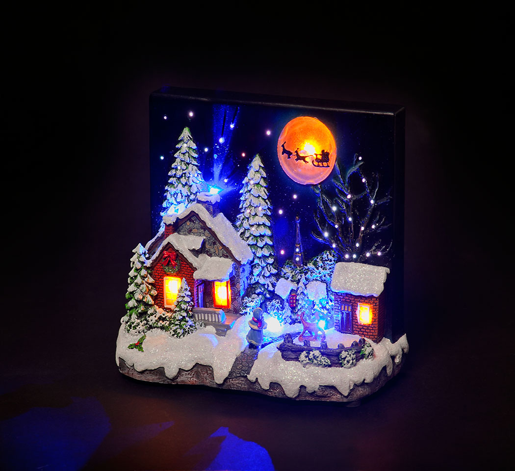 Santa's Coming Illuminated Tableau Scene