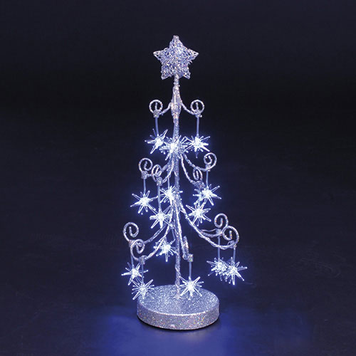 18in Silver Wire Christmas Tree with Sputniks & 16 Blue LEDs