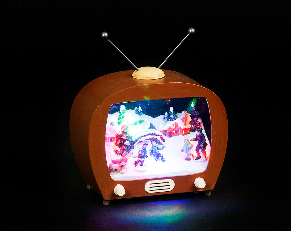Battery Operated 17cm LED TV Screen with Children Skating