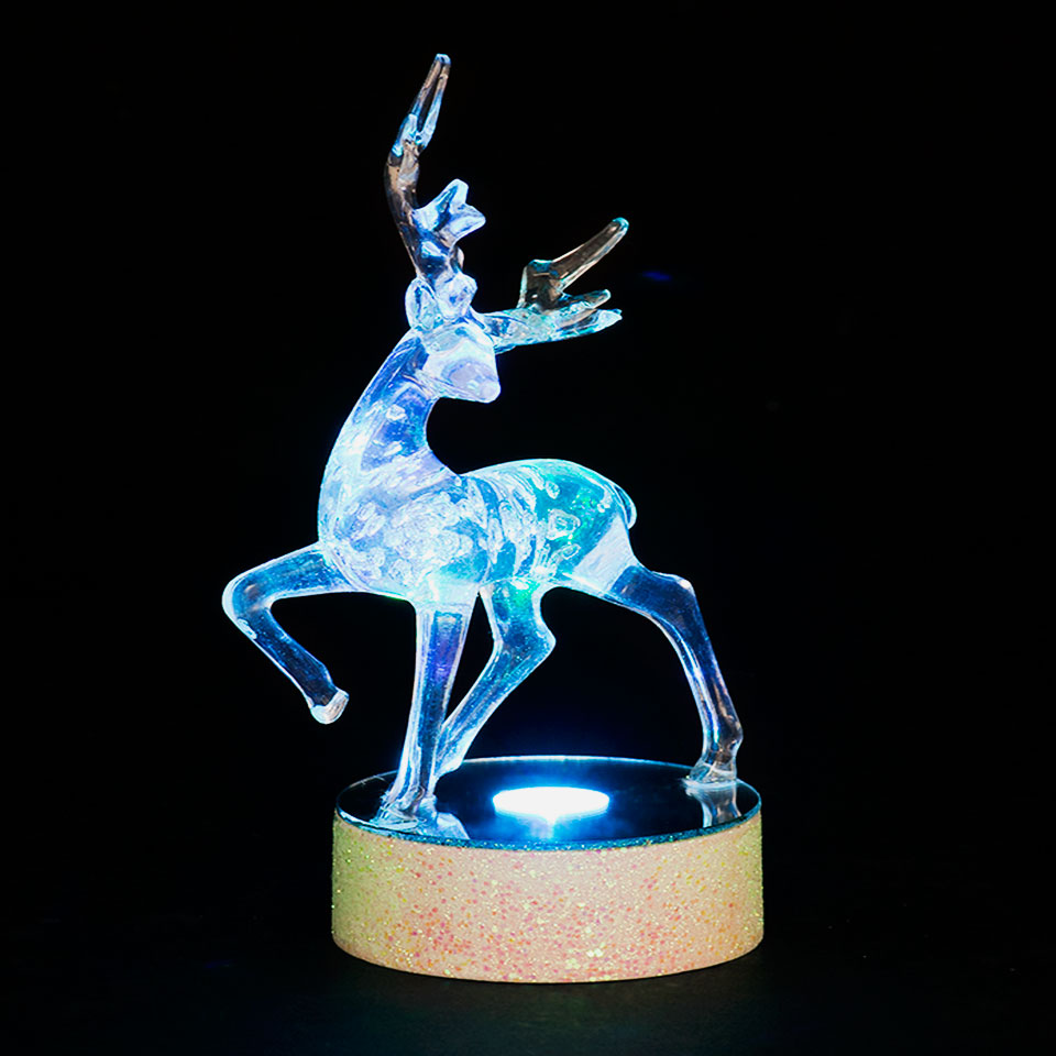 Battery Operated 15cm Prancing Reindeer Colour Change LED