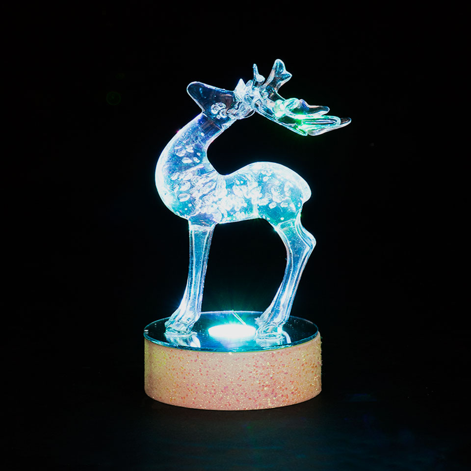 Battery Operated 15cm  Arched Head Reindeer with  Colour Changing LEDs