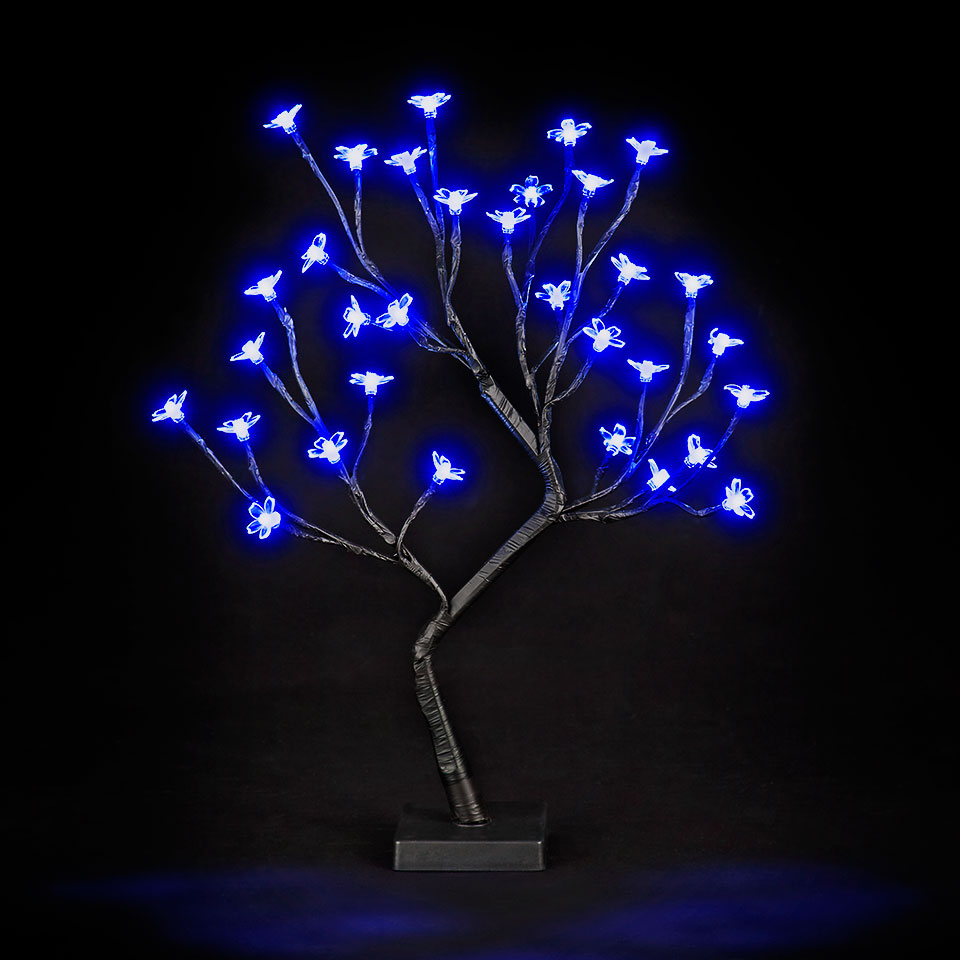 26in/67cm Multi-Function Cherry Blossom Tree with 192 Blue LEDs