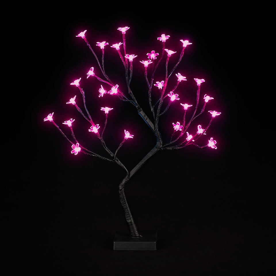 Battery Operated 18in/45cm Cherry Blossom Tree with 32 Hot Pink LEDs