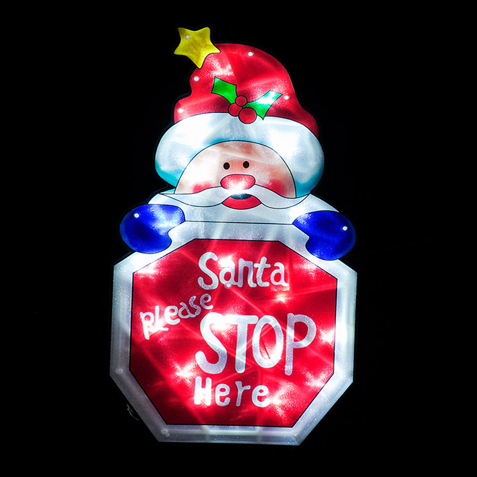 Battery Operated Indoor Santa Stop Here Sign with 20 Ice White LEDs