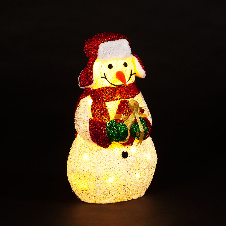 Battery Operated 57cm White Flannel Snowman with 20 Warm White LEDs