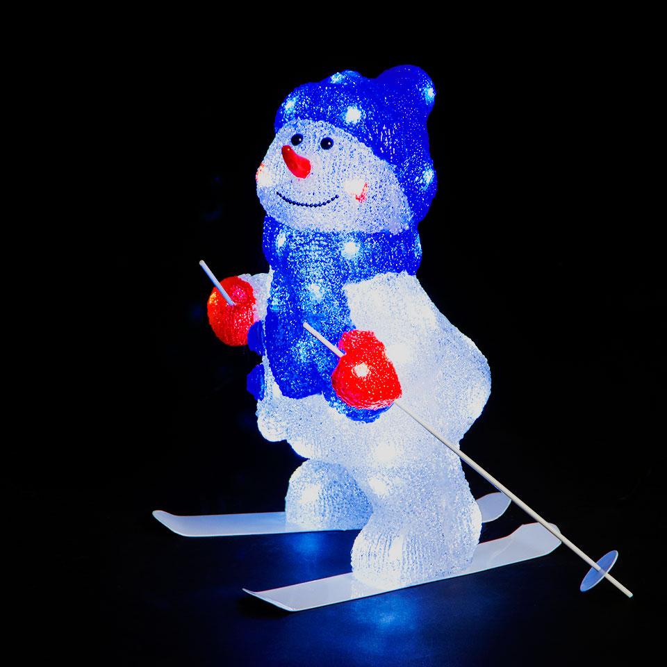 48cm Illuminated Skiing Snowman with 48 Ice White LEDs