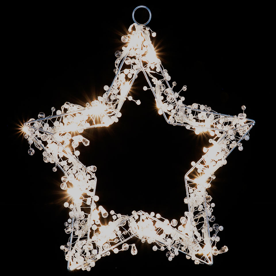 Battery Operated 30cm Beaded Star with 20 Warm White LEDs