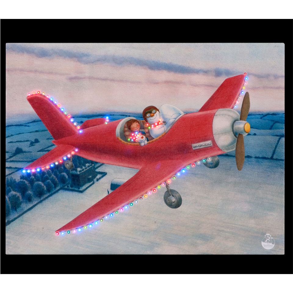 The Snowman, Billy & Snowdog Fly by Aeroplane Illuminated Wall Canvas