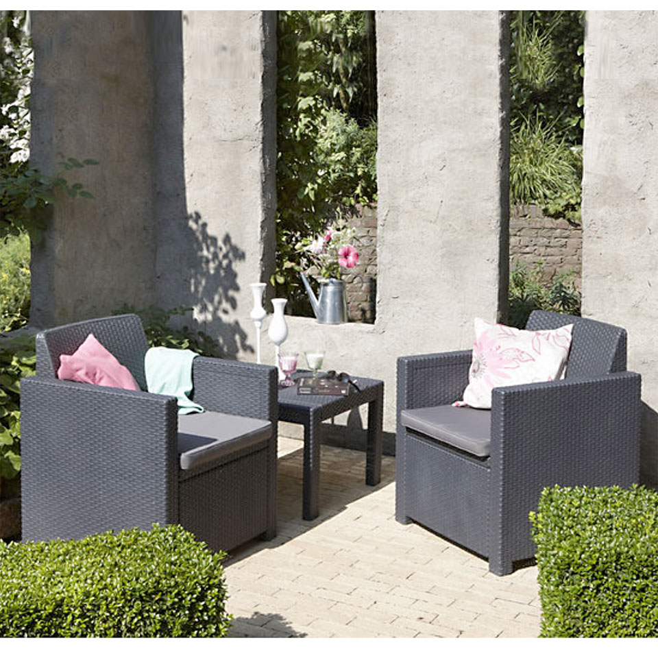 Allibert Allegro Graphite Grey Balcony Bistro Set with Cushions