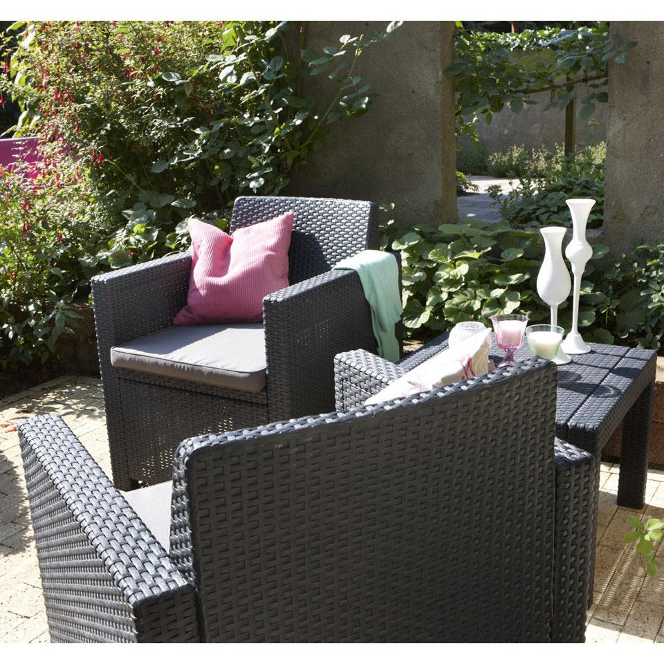 Allibert Allegro Graphite Grey Balcony Bistro Set with Cushions