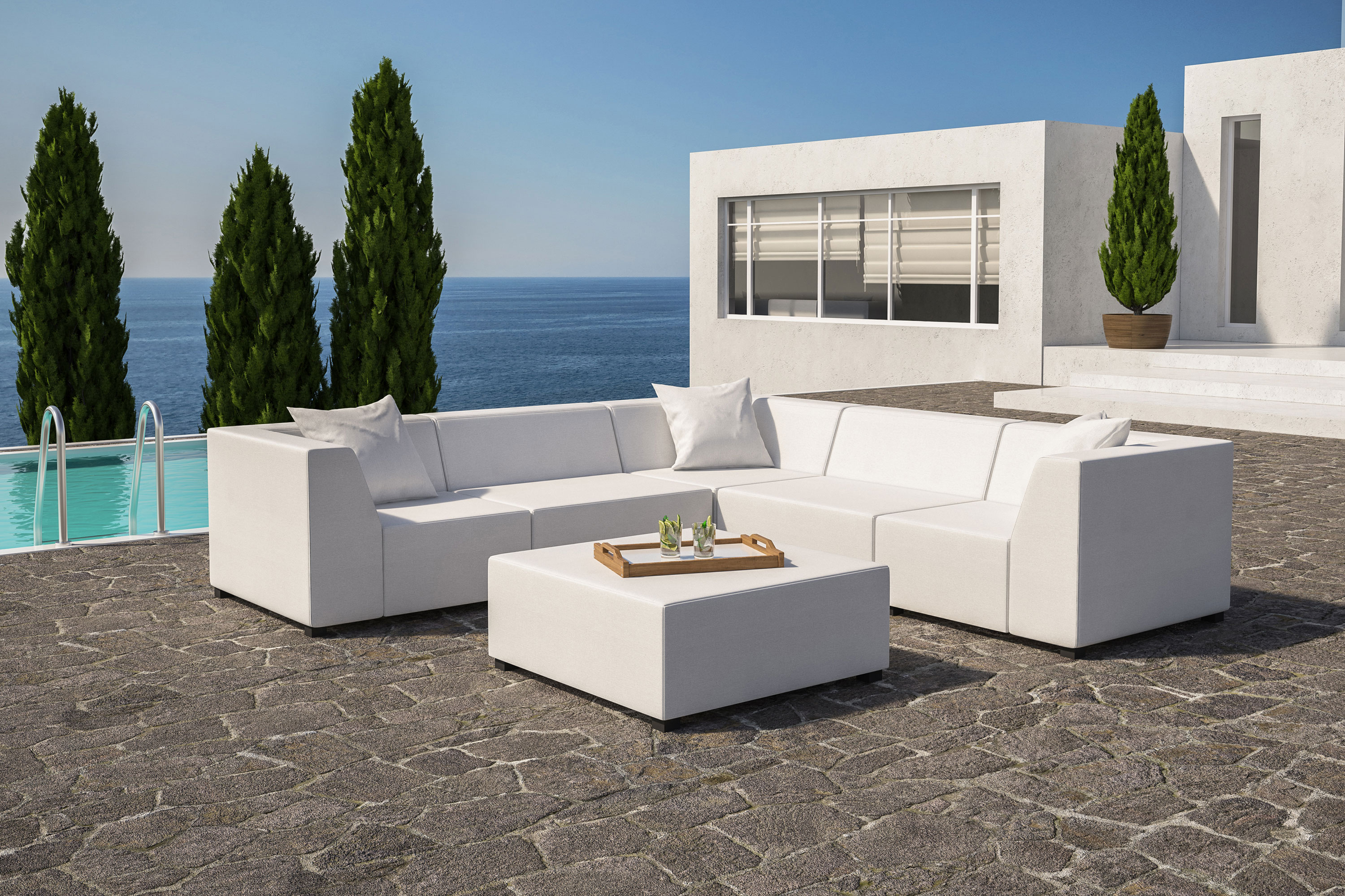 amsterdam white corner sofa with coffee table