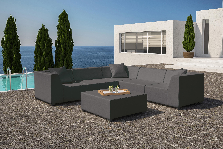 Antibes Graphite Grey Corner Sofa with Coffee Table