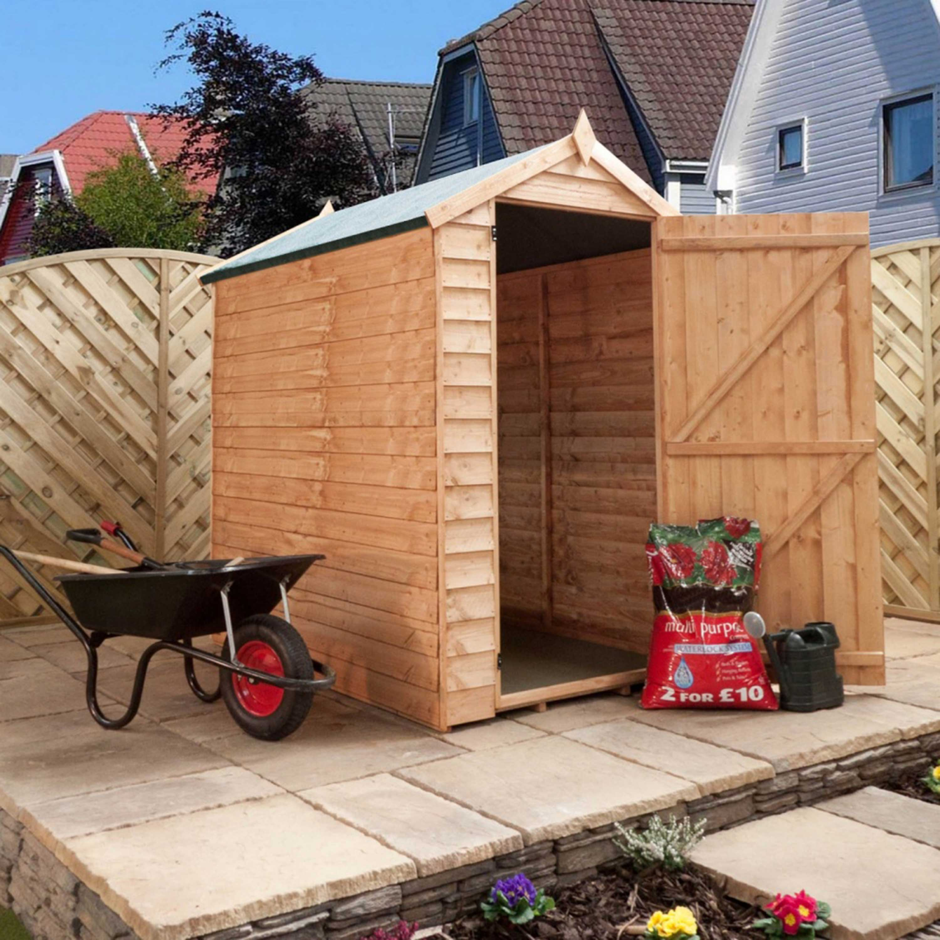 6x4 Overlap Apex Shed - Fully Assembled