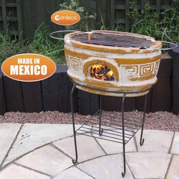 Asador Azteca Large Oval Ochre Clay Mexican BBQ with Grill