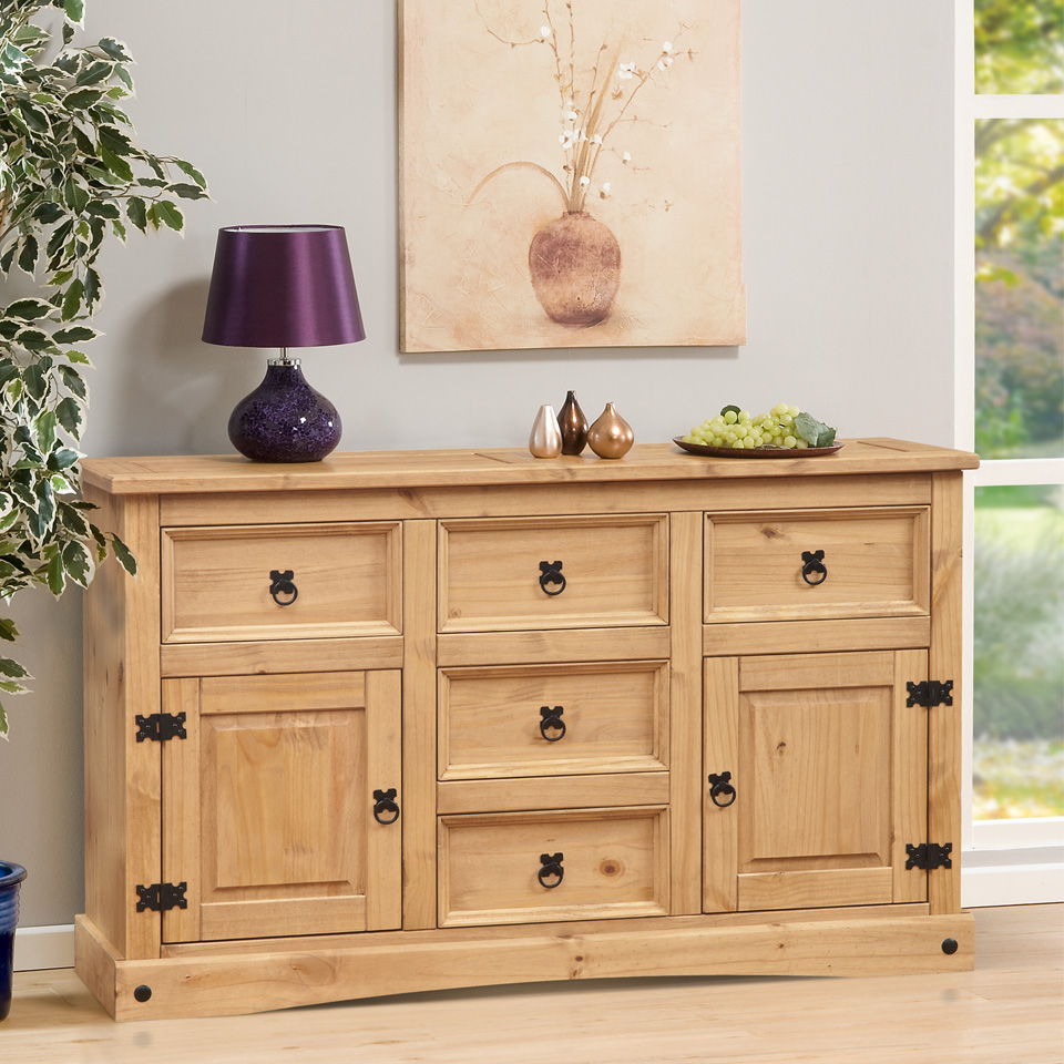 Aztec Corona Mexican Pine 5 Drawer Sideboard