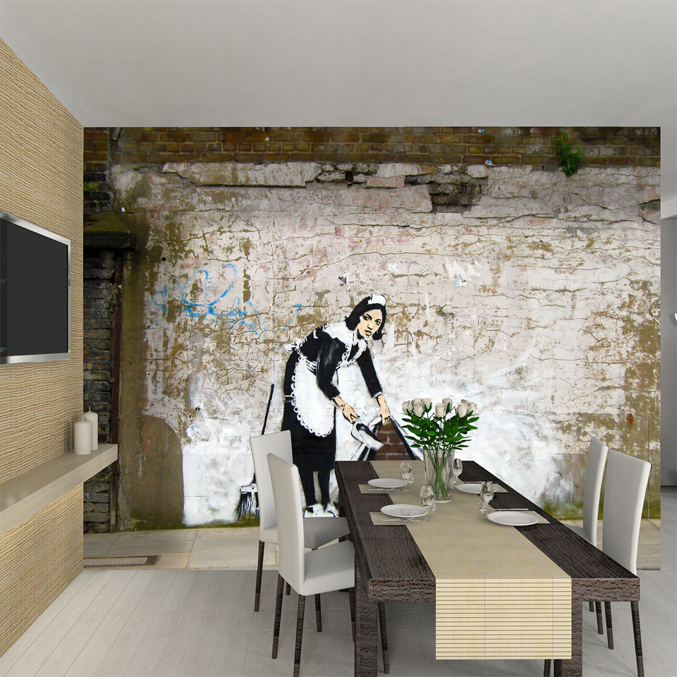 Banksy Chambermaid Urban Graffiti Art Wallpaper Mural